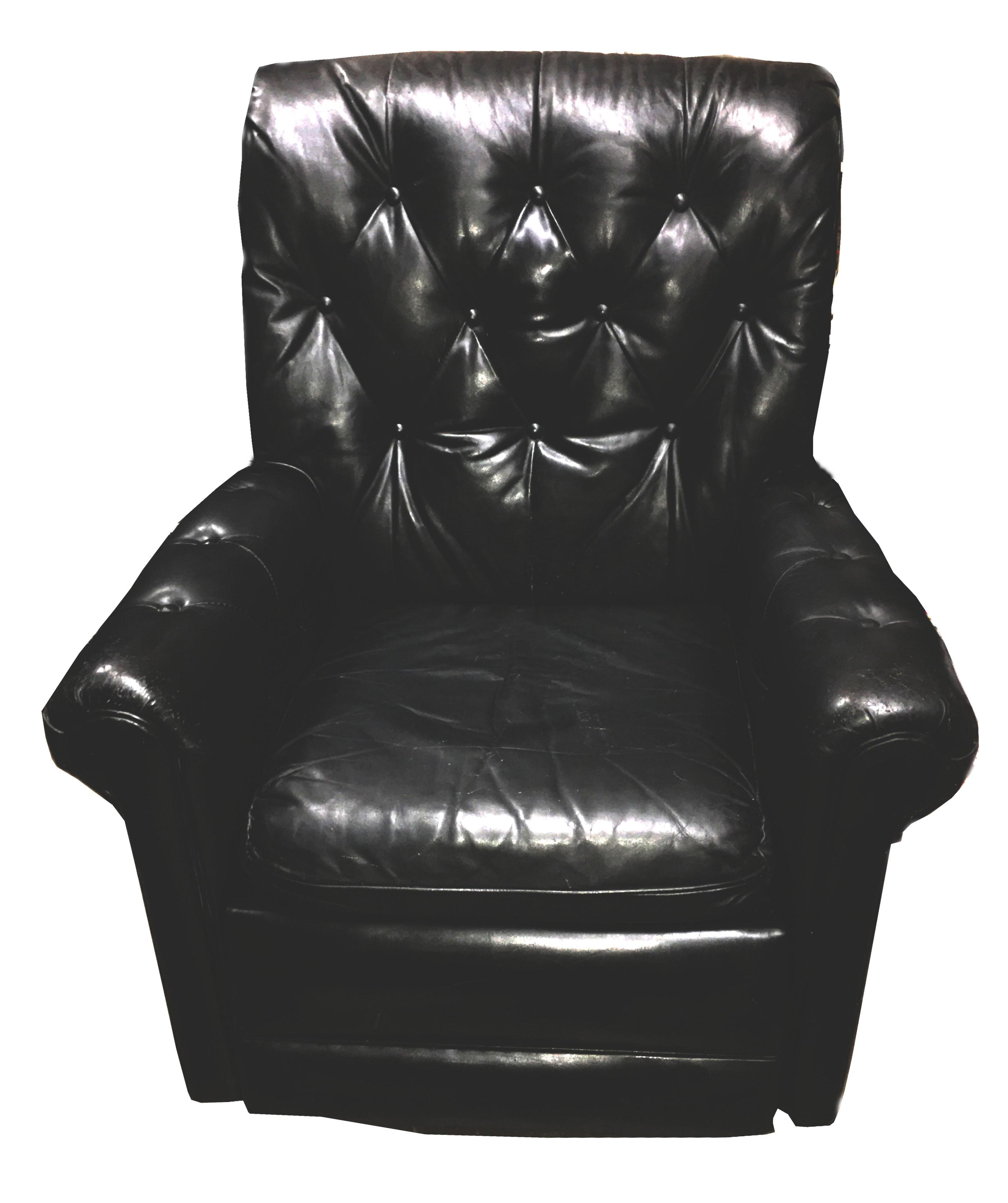 Mid-Century Chesterfield Black Tufted Leather Recliner Chair - Image 7 of 7  sc 1 st  Chairish & Mid-Century Chesterfield Black Tufted Leather Recliner Chair ... islam-shia.org