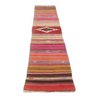 Vintage Turkish Kilim Runner Rug - 1′11″ × 8′6″