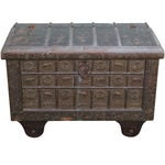 Image of Antique Moroccan Iron & Brass Bound Lidded Chest