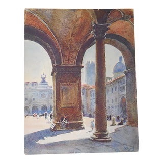Vintage Lithograph Northern Italy, Brescia
