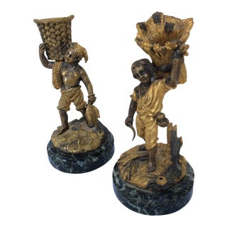 Bronze Figural Match Holders - A Pair