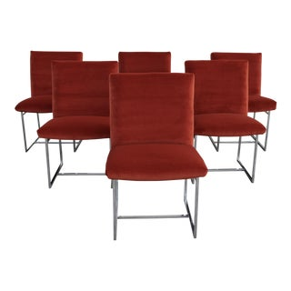 Reupholstered 1970s Milo Baughman for Thayer Coggin Persimmon Velvet and Chrome Dining Chairs - Set of 6