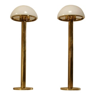 Brass Mushroom Shaped Floor Lamp with Murano Glass Shade, Austria, 1960s