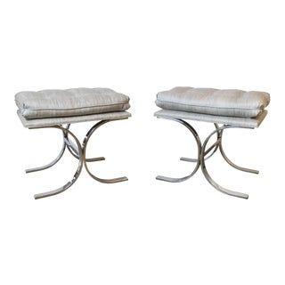 Fantastic Pair of Milo Baughman Double C-Base Ottomans