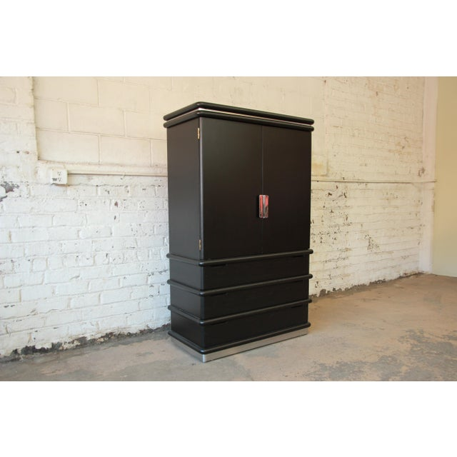 Jay Spectre for Century Cerused Oak & Chrome Armoire - Image 4 of 11
