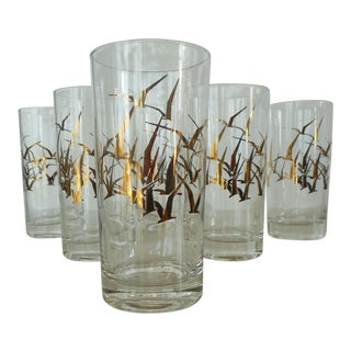 Glass Tumblers with Gold Birds in Flight Design - Set of 6