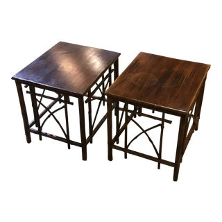 Rosewood Bamboo Side Tables - A Pair