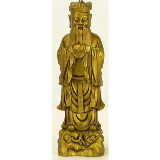 Confucius Gilt Metal Table Lamp - Image 9 of 9