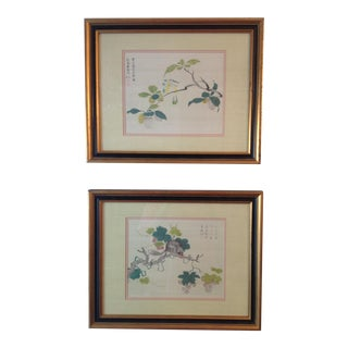 Vintage Chinese Block Watercolor Pictures - A Pair