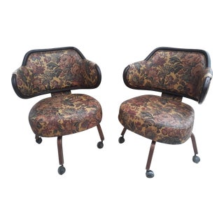 1920's Wingback Swivel Chairs - A Pair