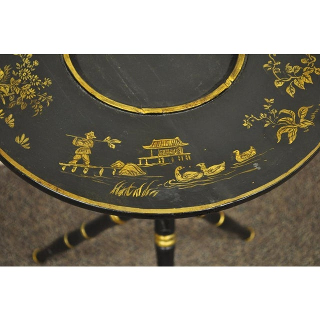 Antique Victorian English Decorated Faux Bamboo Tripod Occasional Side Table - Image 9 of 11