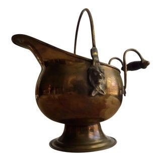 Early American Style Brass & Wood Vessel