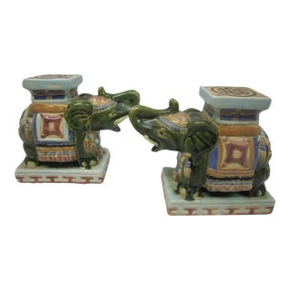 Vintage Glazed Elephant Bookends - A Pair