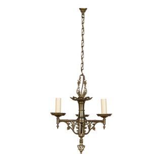 Three Arm Tudor Brass Chandelier