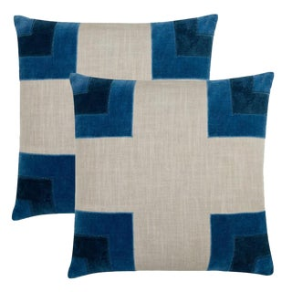 "Piper Collection Blue ""Luke"" Pillows - a Pair"