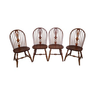 Hitchcock Solid Oak Windsor Style Dining Chairs - Set of 4