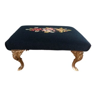 Antique Victorian Needlepoint Footstool