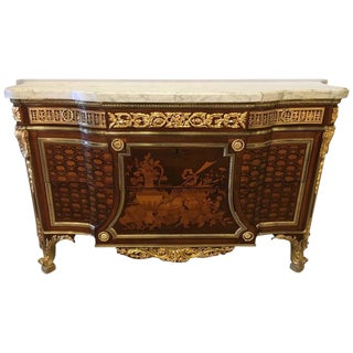 19th Century French Ormolu Mahogany Mable Top Commode After Jean Henri Riesener