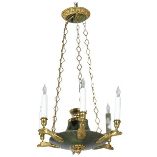 French Small Empire style Chandelier with Gold Colored Eagle Arms, Early 1900s