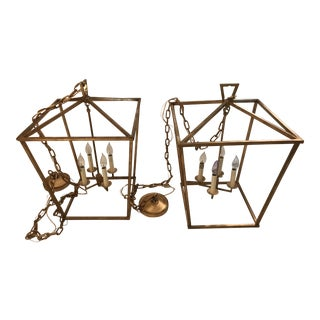 Visual Comfort Gilded Gold Iron Foyer Lantern Ceiling Lights