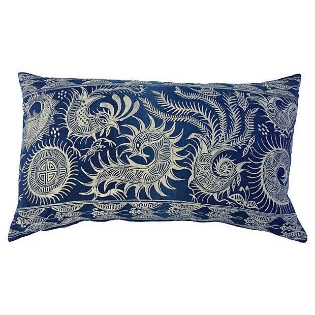 Serpent Indigo Batik Fringe Pillow - Image 1 of 5