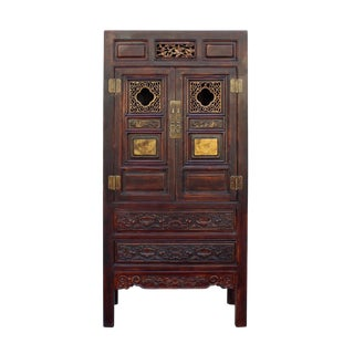 Chinese Fujian Brown Golden Carving Graphic Armoire Storage Cabinet