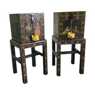 Miniature Table Boxes on Stands - Pair