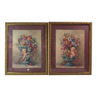 Decorative Framed Floral Still Life Prints - a Pair
