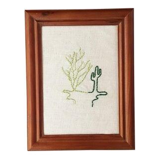 Ocotillo & Saguaro Embroidered Line Art