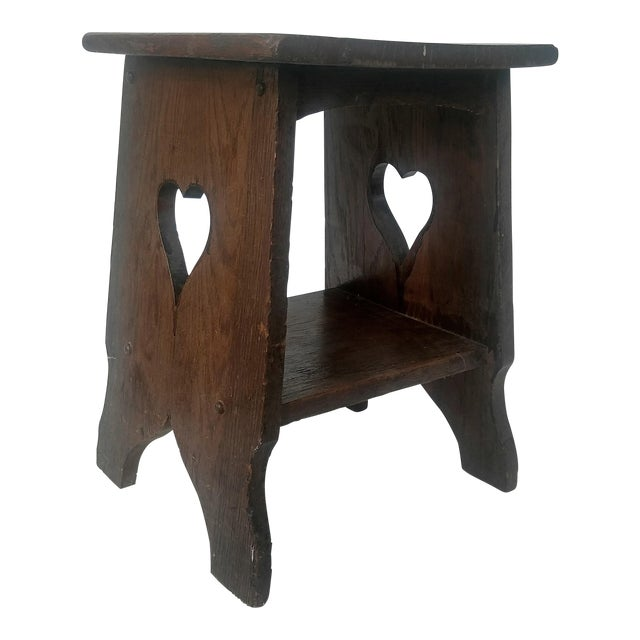 Arts & Crafts Mission Oak Side Table with Heart Cut Outs - Image 1 of 6