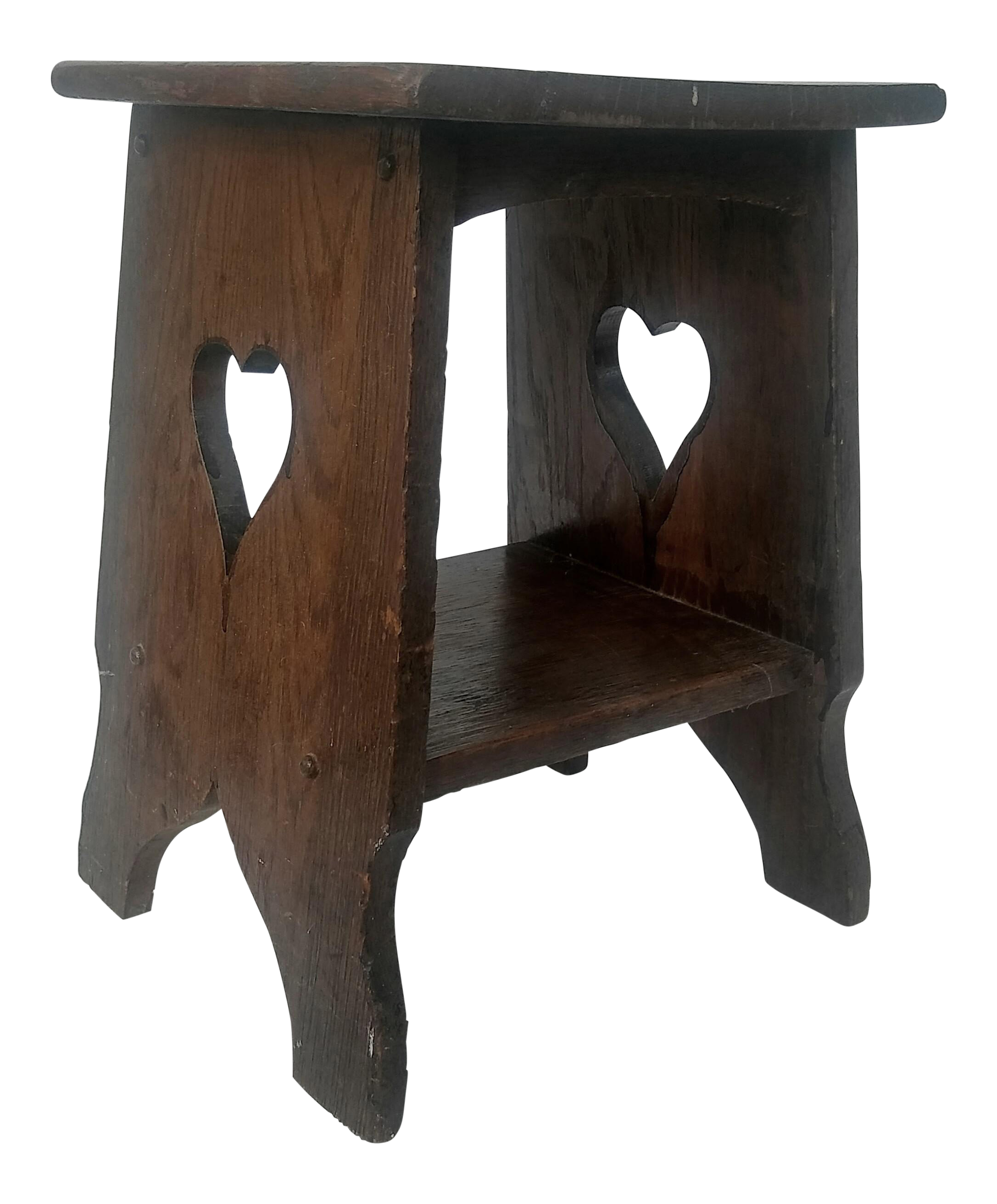 Arts U0026 Crafts Mission Oak Side Table With Heart Cut Outs
