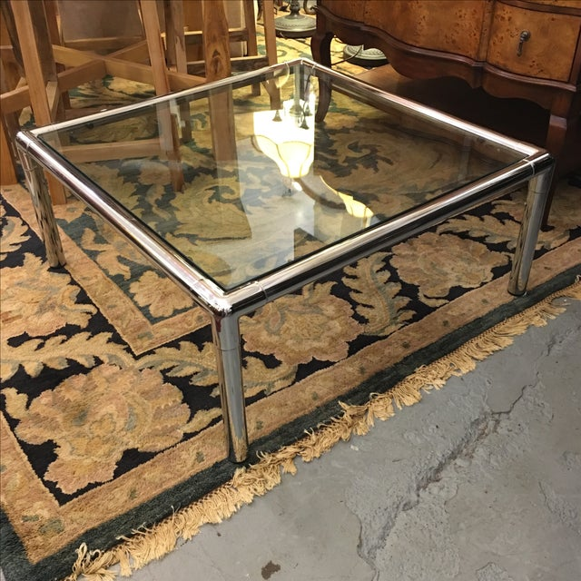 Chrome & Glass Square Coffee Table - Image 4 of 6