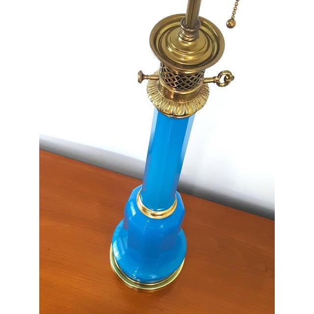 Warren Kessler NY Mid-Century Blue Opaline Murano Glass Lamp - Image 2 of 6