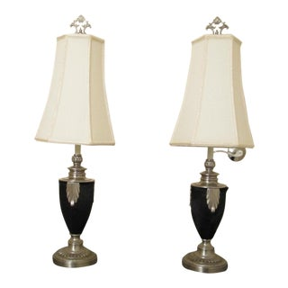 Unusual Black & Silver Feather Lamps - A Pair
