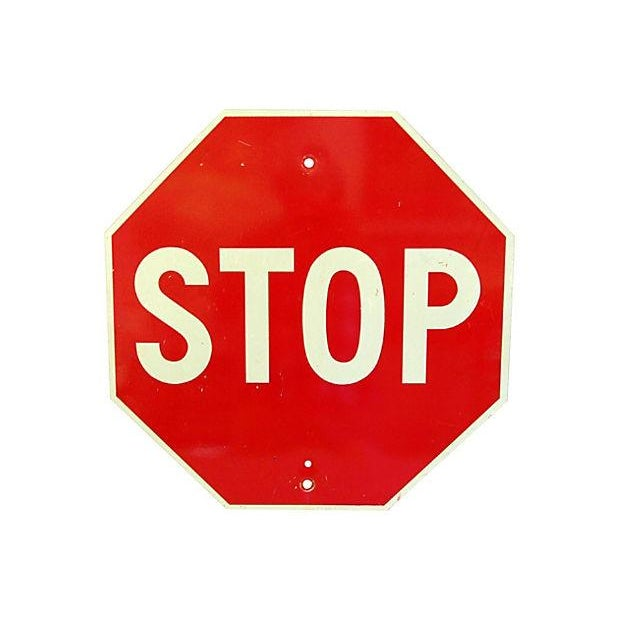 1970s Metal Stop Street Sign - Image 2 of 2