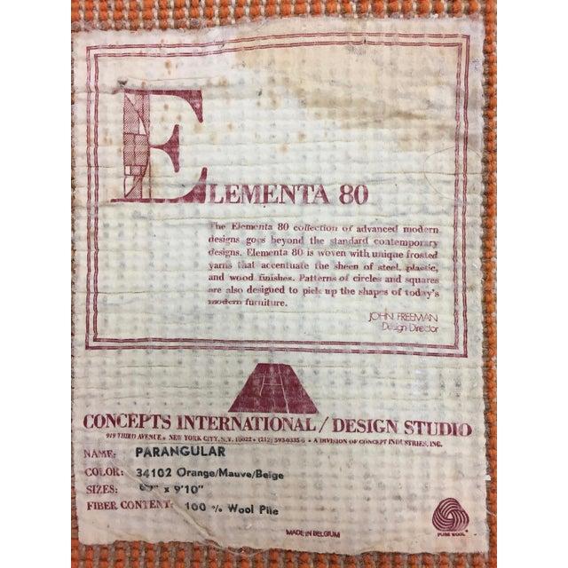 Vintage Belgian Geometric Pop Art Orange Elementa 80 Wool Rug - 6′6″ × 9′10″ - Image 8 of 8