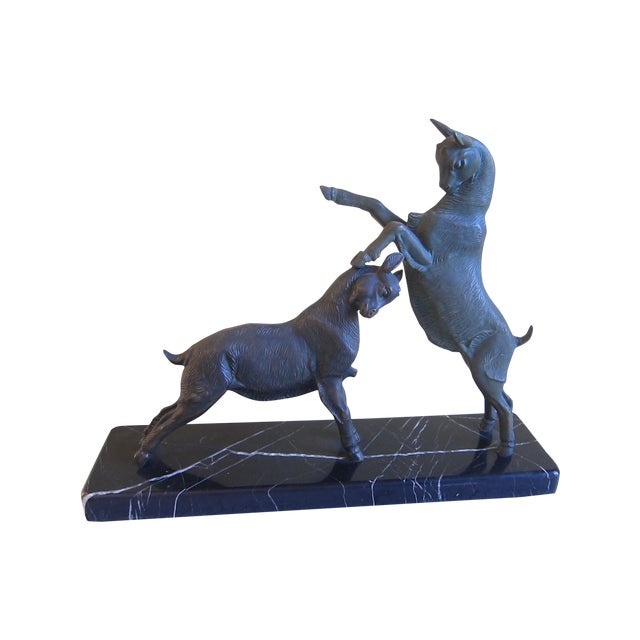 Vintage Art Deco Bronzed Rutting Goats on Marble - Image 1 of 11
