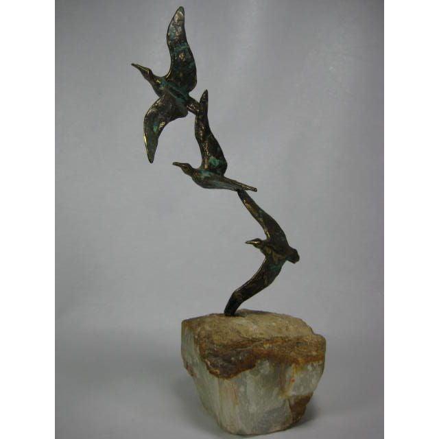 1970s C. Jere Bronze Birds Sculpture on Quartz - Image 3 of 9