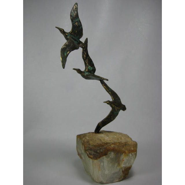 Image of 1970s C. Jere Bronze Birds Sculpture on Quartz