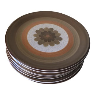 Vintage Mid Century Stoneware Dinner Plates - Set of 8