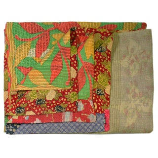 Orange and Lime Green Vintage Kantha Quilt