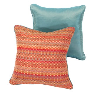 Poppy & Aqua Silk Pillows - A Pair