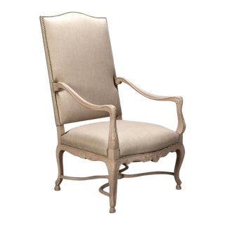 Tall French Arm Chair With Carved and Painted Frame C.1900