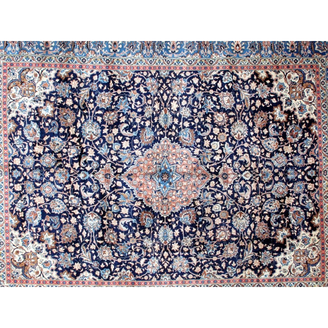 "Image of Leon Banilivi Navy Persian Kashan Carpet - 9'8"" X 12'6"""