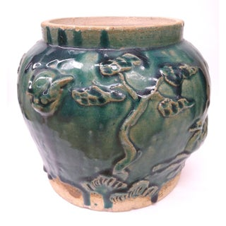 Asian Style Heavy Clay Drip Glaze Teal Planter