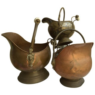 Vintage Boho Brass & Enamel Vessels - Set of 3