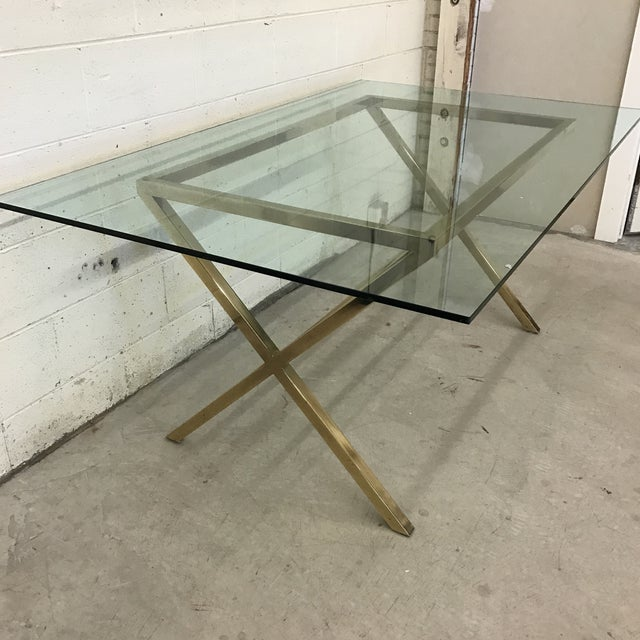 Contemporary Brass & Glass Dining Desk Table - Image 4 of 11