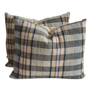 Vintage Striped Rag Rug Pillows - A Pair