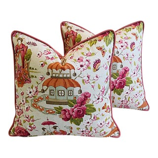 Designer Custom Chinoiserie Pagoda & Floral Feather/Down Pillows - Pair