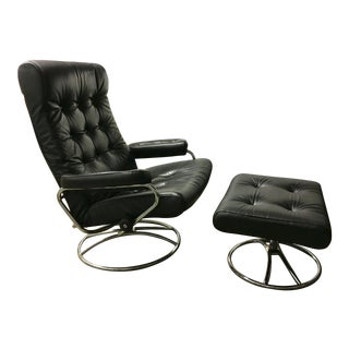 Ekornes Mid-Century Leather Lounge Chair & Ottoman